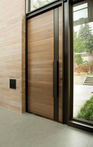 puertas de madera modernas con acero en monterrey